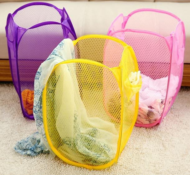 Urijk Foldable Clothes Storage Baskets Mesh Washing Dirty Clothes Laundry Basket Portable Sundries Organizer Toy Container