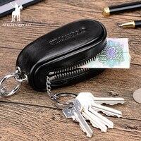 Genuine Leather Car Key Wallets Men Keys Organizer Housekeeper Zipper Key Case Bag Pouch Purse Mini PL271