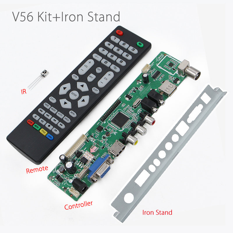 V56RUU-Z1 V56 Universal LCD LED TV Controller Driver Board + Baffle Iron Stand Support USB play multi-media instead v29