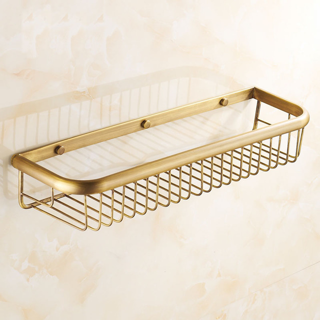 30/45cm Square Antique Copper Wall Mounted Bathroom Shelves Rack, Kitchen  Brass Retro Baskets