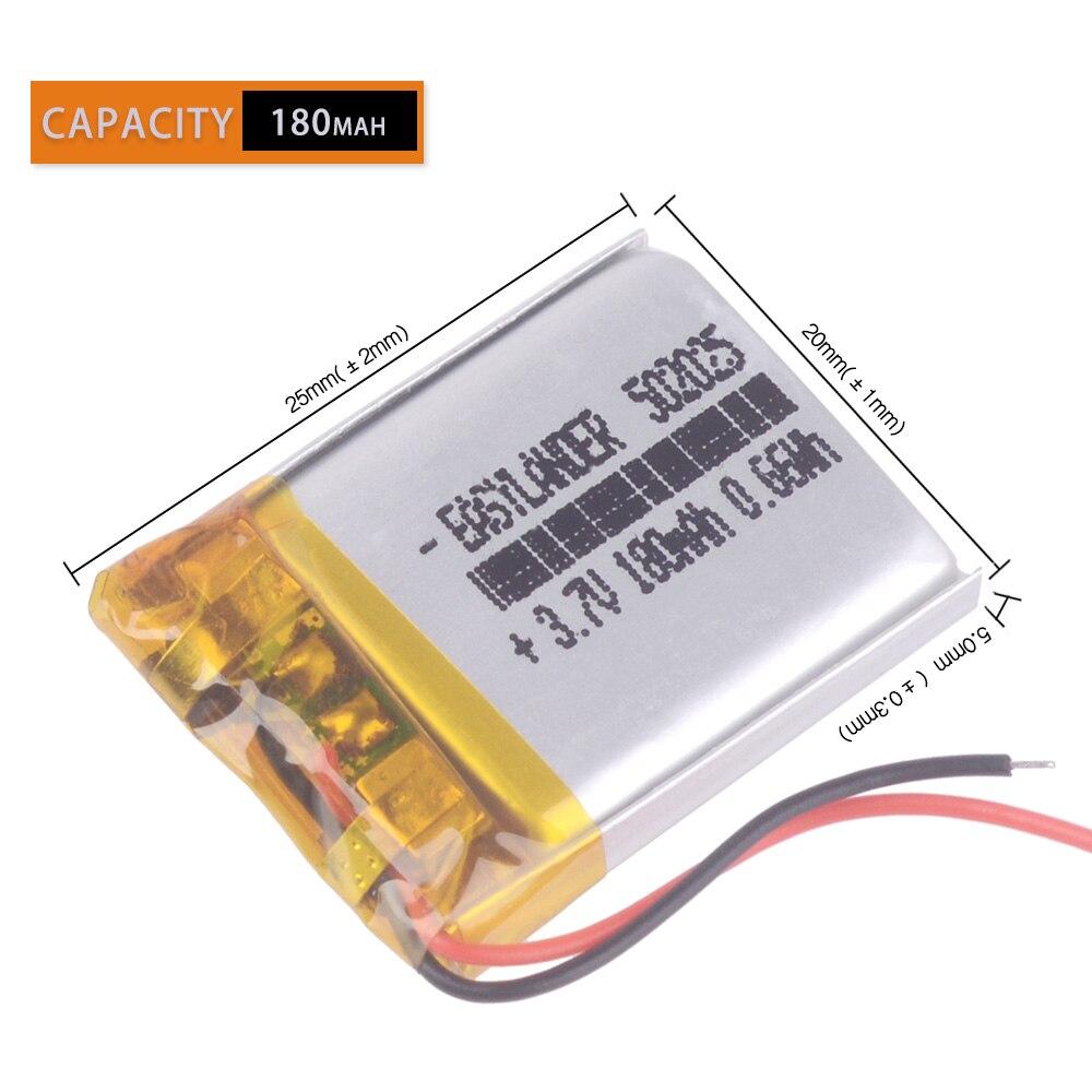 3.7V 180mAh 502025 Lithium Polymer Li-Po Li Ion Rechargeable Battery Lipo Cells For  DVR Advocam FD  Video Recorder Registrar