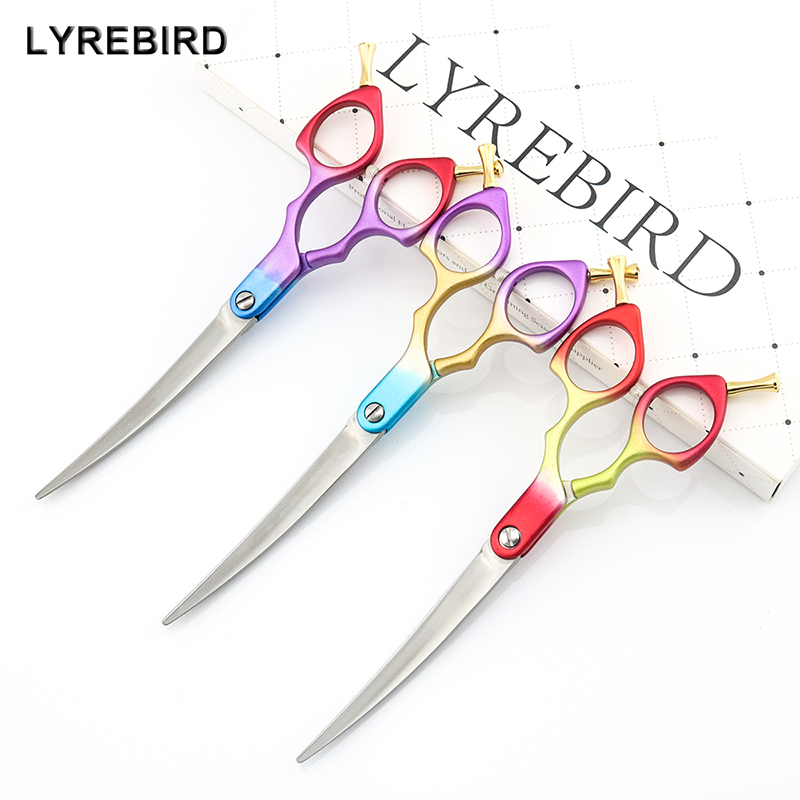 Professional Dog Grooming Scissors Curved  Light Dog Pet Hair Scissors 6 Inch 6.5 Inch Cat Curved Scissors Super JP440C Lyrebird-in Hair Scissors from Beauty & Health