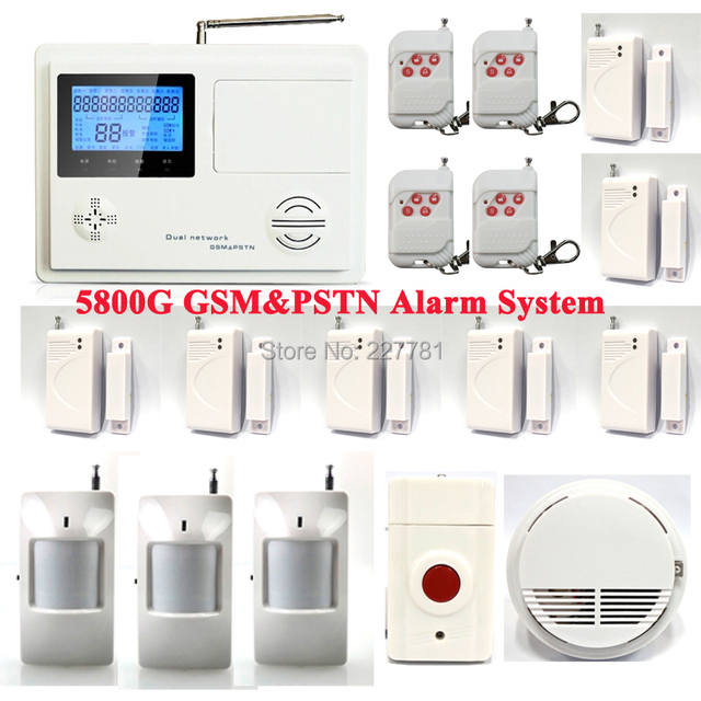 5800G Wireless GSM TEXT SMS Telephone Phone Landline ADSL Home Intruder Burglar Alarm System + Smoke Sensor + Panic Button P34