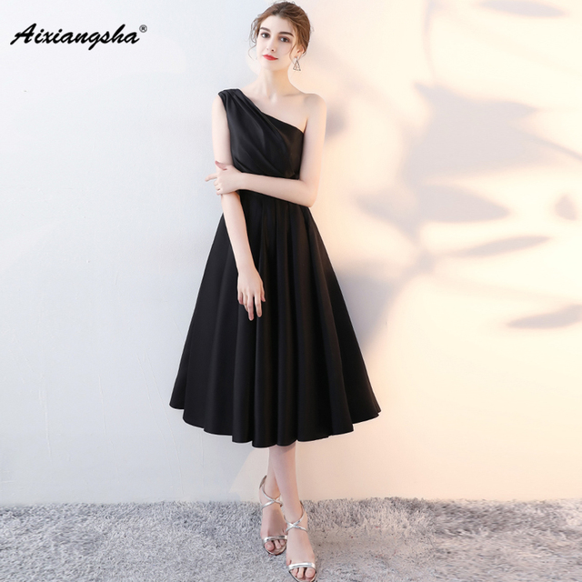 Aliexpress Buy Beautiful Black Graduation Dresses Tea Length