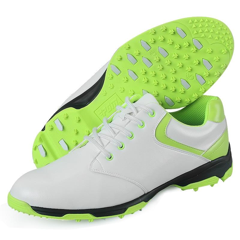 New 2017 Men's Golf Shoe Super Fiber Leather Ultra Light Elastic EVA Anti Skid Breathable Waterproof Sport Shoes Men(Green) the most light combat boots single ultra light ultra fiber super breathable size38 45 ao3