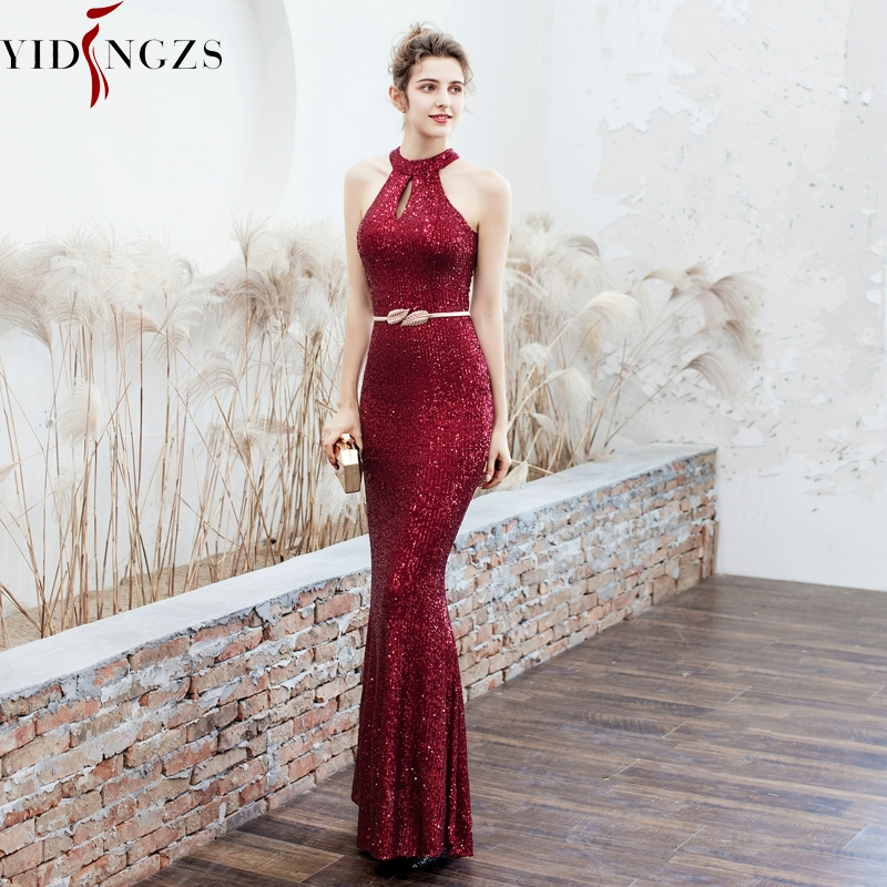 YIDINGZS New Halter Neck Elegant Long Sequins   Prom     Dress   Hollow Out Party Evening   Dress