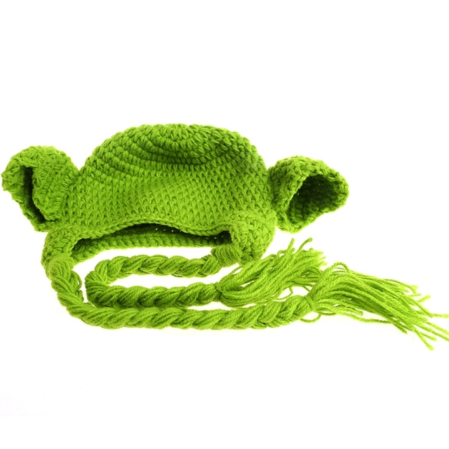 2017 Handmade Knitted Baby Star Wars Yoda Costume Hat Newborn Photography Props MAR7_30