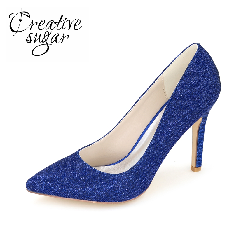 Creativesugar sparkle glitter pointed toe woman pumps for Gold dress shoes for wedding