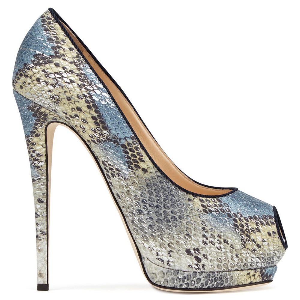 Luxe Chaussures Pompes Sandales forme Haute Sexy Pu As Profonde Mode Femmes Show Serpentine Mariage Bling Show Toe Super Peep Peu as De Plate Talons Partie Lady I8RwR