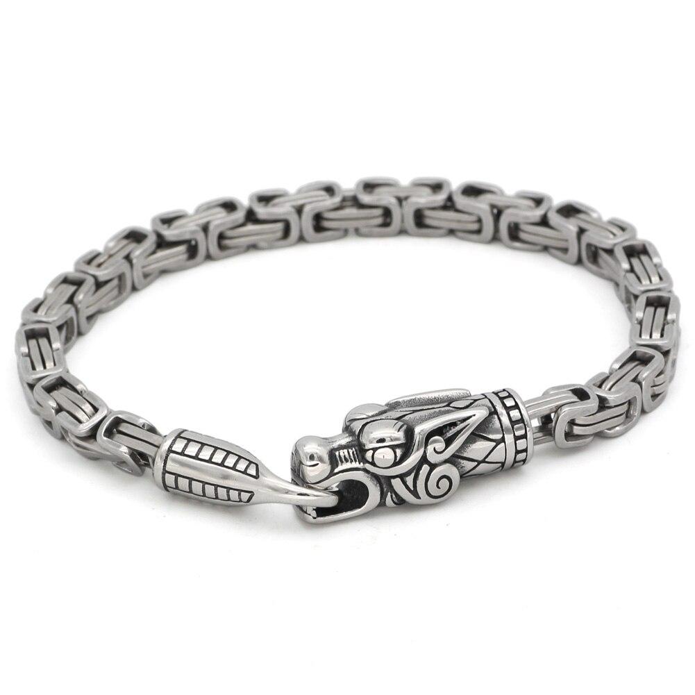 men stainless steel nordic viking odin wolf dragon king chain amulet bracelet 23cm