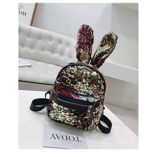 Luxy moon Glitter Backpack Women Silver Sequin Daypacks 2018 Bunny Girls  Black PU Leather Bling Backpacks Preppy Style FXB1634