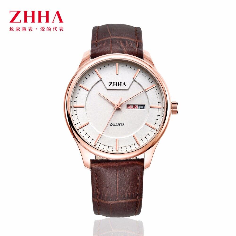 ZHHA New Fashion Casual Women Watchs Man Lovers Wristwatch Leather strap Analog Quartz Watch ZWS010 Masculino