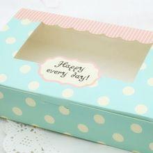 21*13*5 см синий горошек упаковочные коробки, торт печенье бумажная упаковочная коробка с окном подарочная упаковка 100/шт