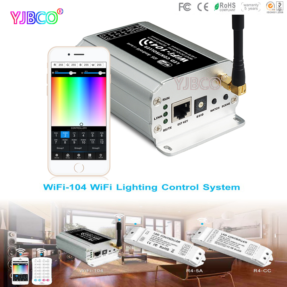 new ltech led wifi rgb controller wifi 104 ux8 touch panel rgb controller v8 remote and cv cc wireless receiver r4 5a r4 cc Express 2.4GHz WiFi supports max12 zones control M12 IR remote&WiFi-104 LED wifi controller;R4-5A /R4-CC Zone Receiver