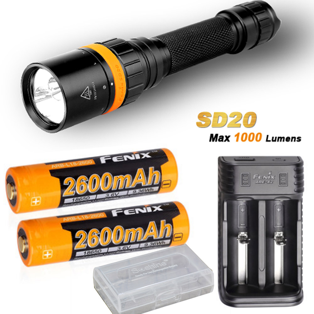 Fenix SD20 1000 Lumen CREE LED 100 meter submersible Diving Flashlight with 2 x ARB-L18-2600 battery,ARE-X2 charger