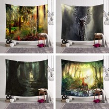 Plus Size Large Wall Tapestry Fog Elk Tree Forest Deer Hippie Psychedelic Tapestry Wall Hanging Bohemia Sofa Blanket Home Decor