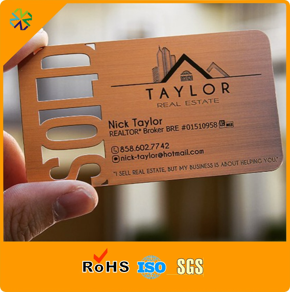 custom brushed effect metal business cards cut  out logo printing words