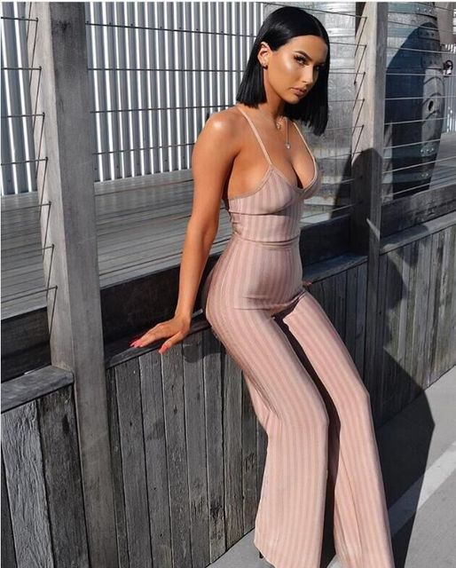 Top Quality Women Sexy Jacquard Striped Nude Red Rayon Bandage Jumpsuit  2018 Fashion Bodycon Boot Cut Jumpsuit 8e808cc0e1d0