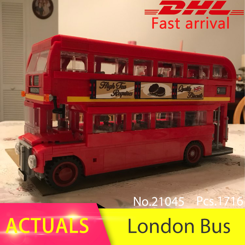 Lepin 21045 1716pcs Technic series London Bus Model Building Blocks set Bricks Toys For Children 10258 Educational Toys Gift ynynoo lepin 02043 stucke city series airport terminal modell bausteine set ziegel spielzeug fur kinder geschenk junge spielzeug