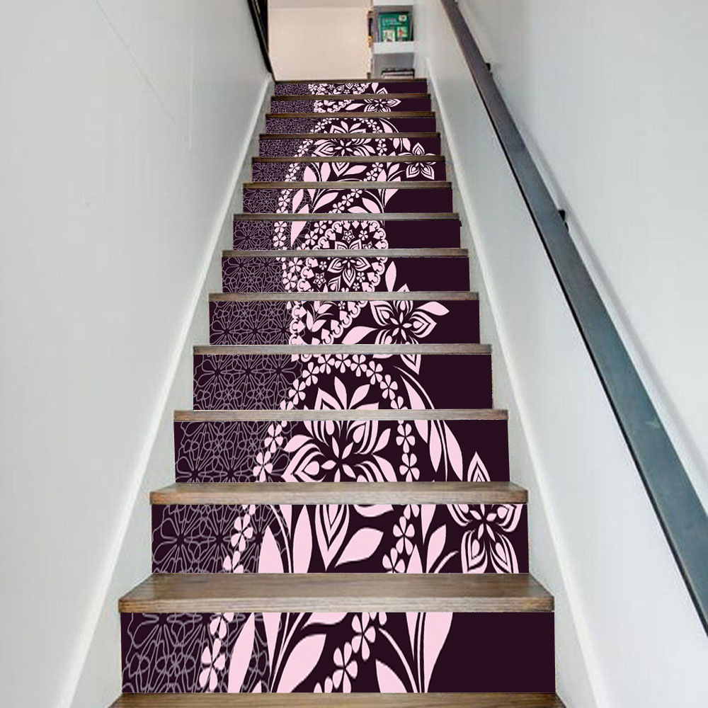 13pcs/set 3D Arab Style DIY Stairs Art Mural Sticker Step Decoration Self adhesive PVC Wall Decals Flower Vine Wallpaper Poster