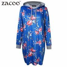ZACOO Women's 2017 casual Large Size Floral print Pocket Long Sleeve Hoodie Sweatshirt Dress fashion autumn winter dress zk30