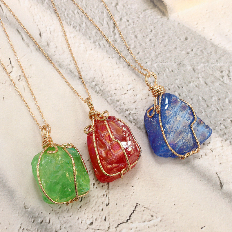 New Arrival Special shaped Stone Pendant Necklace Gold Color Chain For Women Girls Jewelry