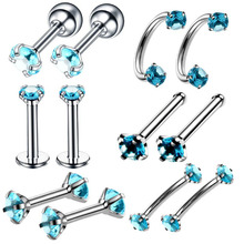 Ybollar 12pcs/lot Stainless Steel Labret Lip Stud Ring Tongue Crystal Zircon Nose Hoop Piercing Ear Cartilage Tragus Jewelry