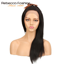 Rebecca Lace Front Human Hair Wigs For Black Women Peruvian Remy Straight Hair 4x4 Lace Front Wig 10 14 18 20 Inch Free Shipping(China)