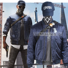 Manles Watch Dogs 2 Costume Marcus Holloway Cosplay Costume Blue Jacket Adult Men