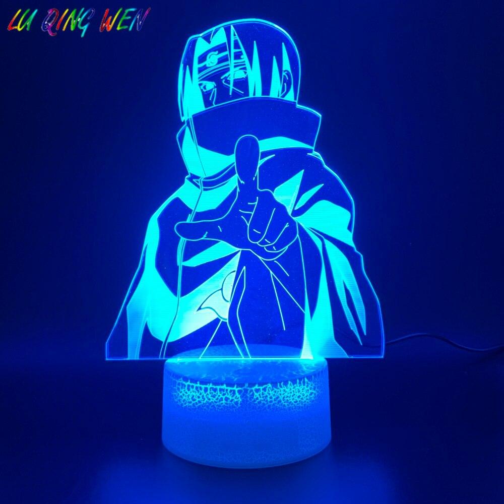 Acrylic Led Night Light Anime Naruto Itachi Uchiha 3D Lamp Bedroom Decoration