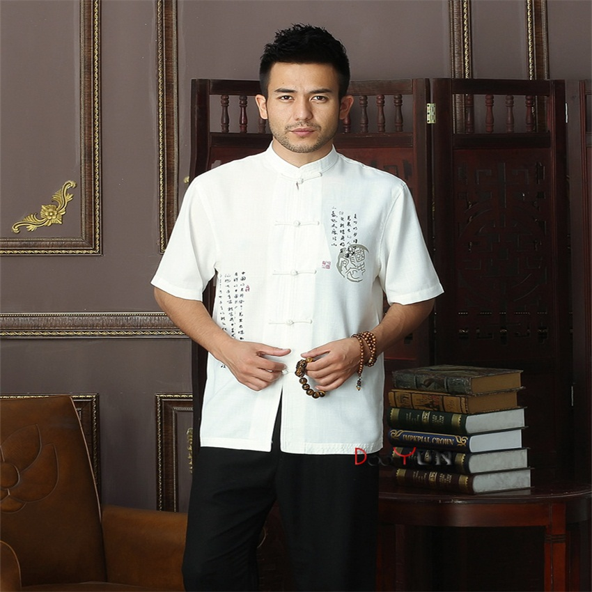 Spring New White Chinese Mens Cotton Mandarin Collar Kung Fu Shirt Top Novelty print Tan ...