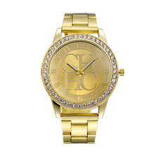 цена на 2015 New Brand Famous Gold Crystal Casual Quartz Watch Women Rhinestone Stainless Steel Dress Watches Relogio Feminino Clock Hot
