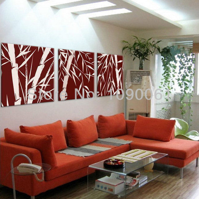 Burgundy Wall Art hand painted abstract bamboo for decorating oil paintings modern