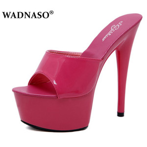 Image 5 - WADNASO Woman Wedding Shoes Sandals 2019 Nightclub Sexy High heeled 15CM Shoes Slippers Fine With Waterproof Sandal Summer Pumps