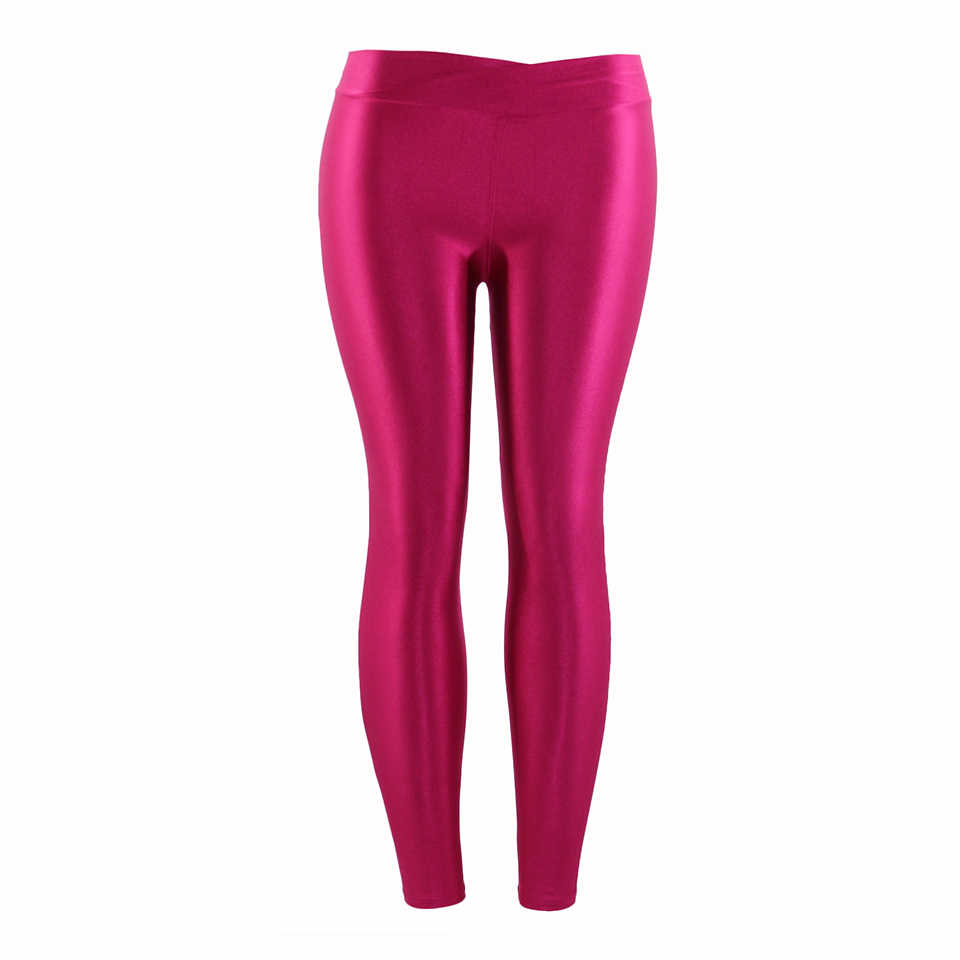 7bef0b42304fb ... Fluorescent Color Women Workout Leggings V-Waist Multicolor Shiny  Glossy Trousers Plus Size Female Elastic ...