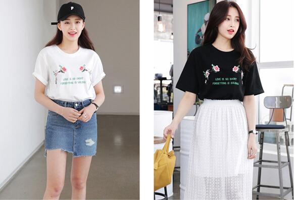 Free shipping 2017 hot sale Big yards female T-shirt Embroidery T-shirt white and black SIZE XL-4XL