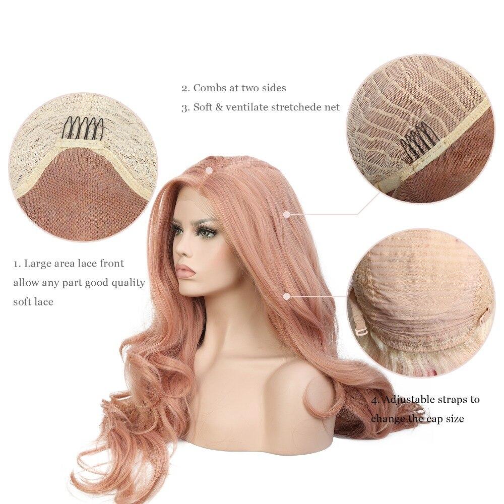 Blandat persika Rosa Naturvåg Syntetisk Spets Fram Paryk Glueless - Syntetiskt hår - Foto 5