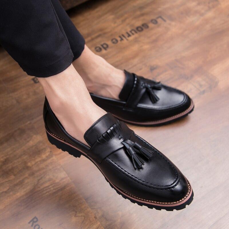 De Chaussures En Gland Marche Slip Bureau Masculine Mode Automne Cuir borwn Black Yeinshaars Hommes on Mocassins 2019 Nouvelle Printemps Casual wZE56tq