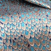 1 Yard 91*150 cm, Brillant Paon Tissu De Brocart Jacquard, Tissu pour Robe Jupe Gilet Veste chinois Couture Bricolage Tissu
