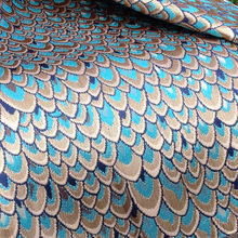 African Shiny Peacock Jacquard Brocade Fabric for Dress,Diy Wedding Mask Apparel Sewing Table Cloth Fabrics