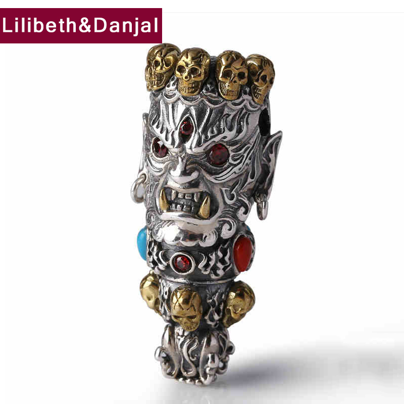 Skull Pendant 100 Real 925 Sterling Silver Buddha God of Wealth Mosaic Color Stone Necklace Pendant
