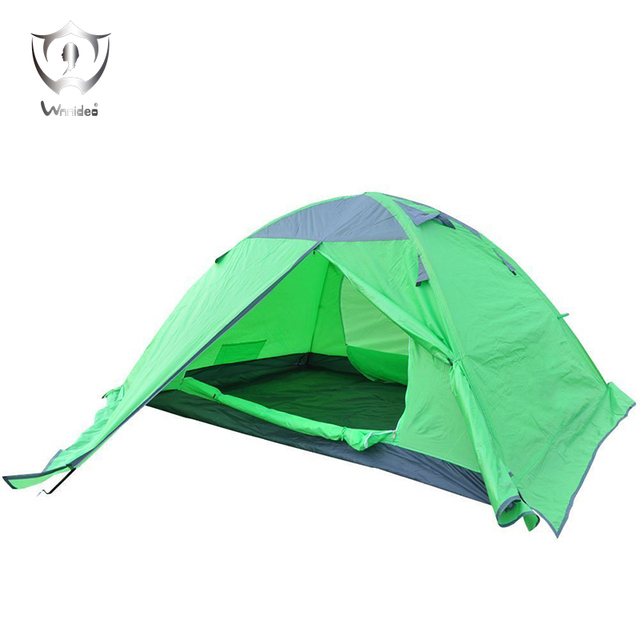 Wnnideo Waterproof Double Layer 2-3 Person 4 Season Aluminum Rod Outdoor Camping Tent Against Storm Tents (green)