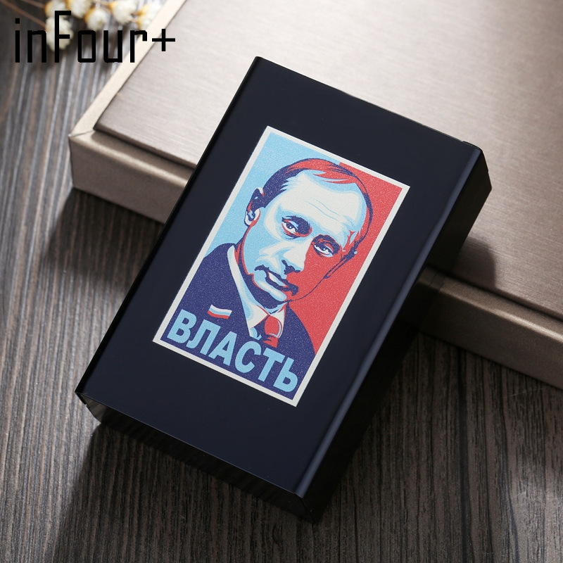 Putin the Great Cigarettes Case Novelty Metal Cigarette Box Smoking Accessories Cigarette Storage Box Tobacco Box Cool Man Gift
