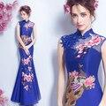 Vermelho azul sereia cheongsam Phoenix bordados Vestidos de noiva prom vestido de Noite 2016 Vestido De Festa Robe De Soirée Abendkleider