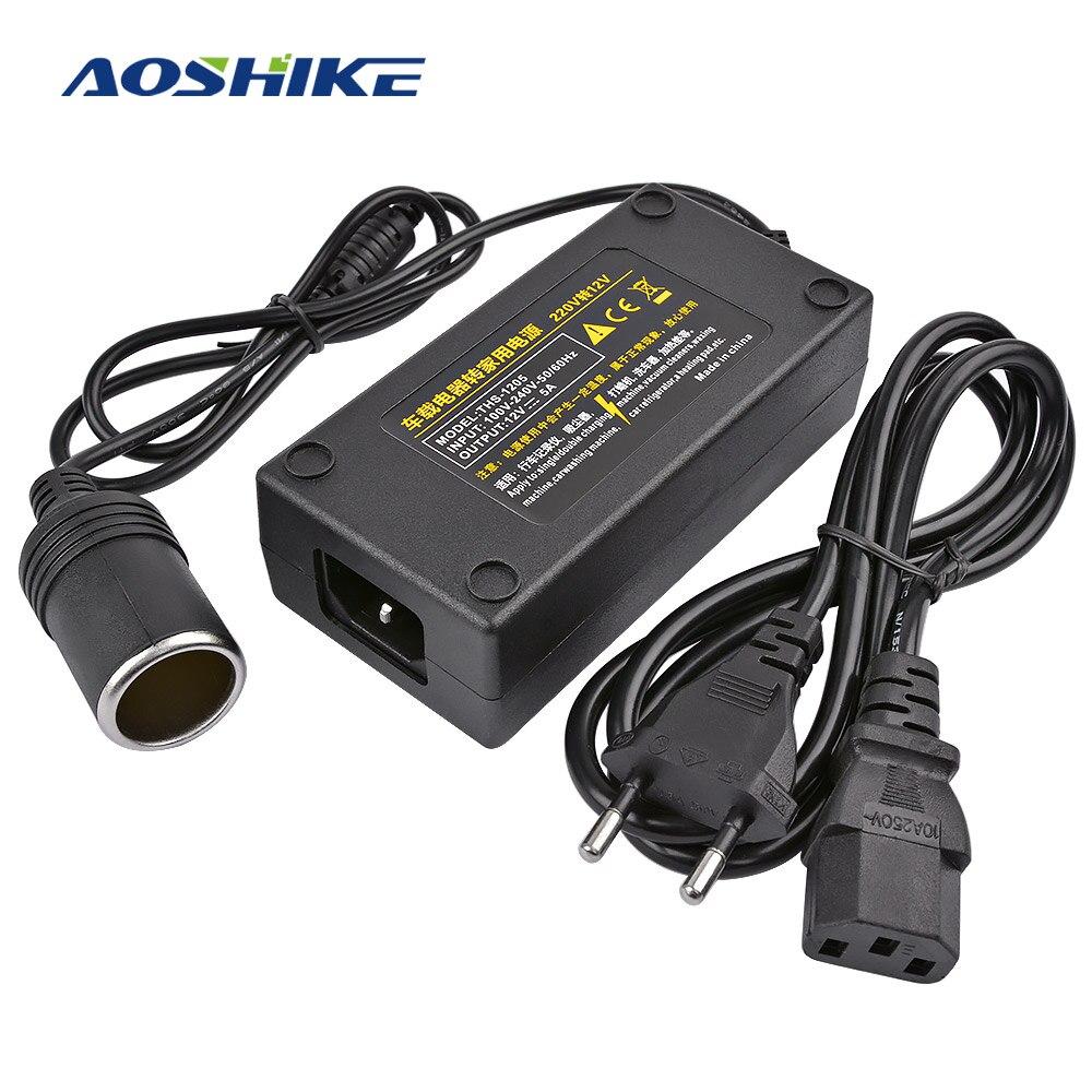 AOSHIKE รถอินเวอร์เตอร์ AC 100V 220V ไป DC 12V รถบุหรี่ไฟแช็ก Power Adapter หม้อแปลงแรงดันไฟฟ้าปลั๊ก EU Plug