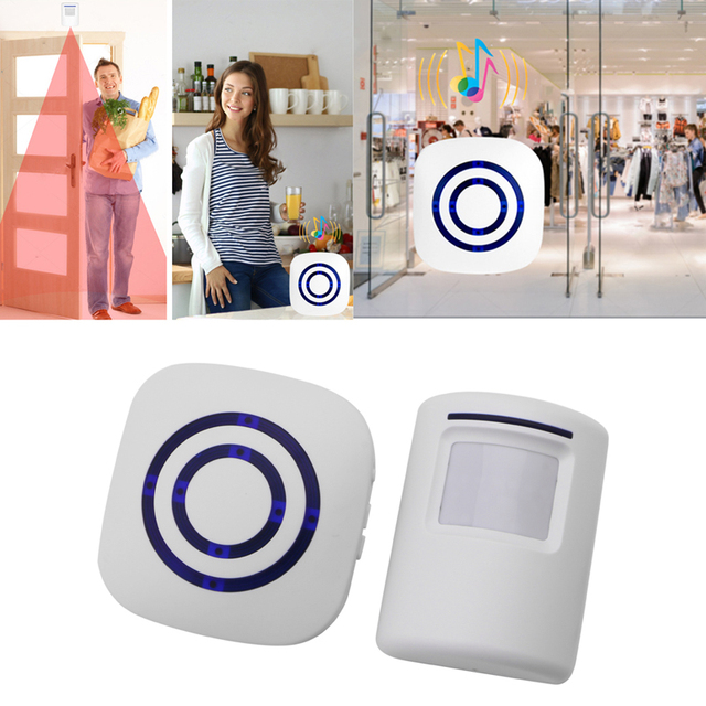 Wireless Infrared Motion Sensor Door Security Bell Alarm Chime EU/US Plug 3 AAA batteries Not Included