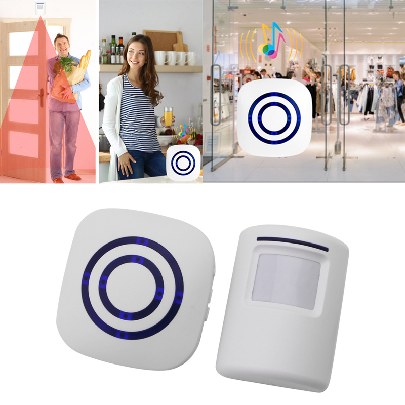 Wireless Infrared Motion Sensor Door Security Bell Alarm Chime EU/US Plug