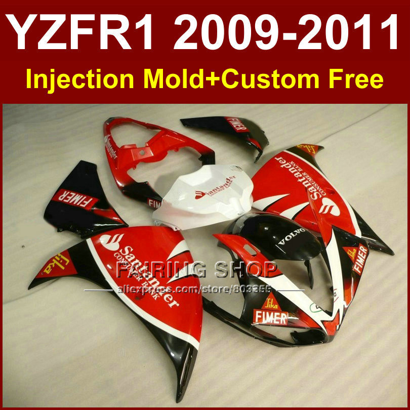Santander sika red Motorcycle parts for YAMAHA fairings YZF-R1 09 10 11 12 YZF R1 2009 2010 2011 R1 bodyworks YZF1000 +7Gifts injection fairings for yamaha yzf r1 2009 2012 matte black wine red full plastic parts fairing kit 7gifts ll02