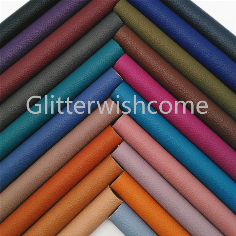 Glitterwishcome 21X29CM A4 Size Litchi Faux Leather Fabric, PU Synthetic Leather Fabric Sheets, Vinyl Fabric For Bows, GM421A