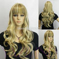 Nice5982Q>>>>>>Yellow Brown Mix Long Wavy Curly Synthetic Hair Full Wig fancy dress WIGS